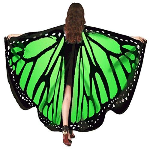 Overdose Frauen 197*125CM Weiche Gewebe Schmetterlings Flügel Schal feenhafte Damen Nymphe Pixie Halloween Cosplay Weihnachten Cosplay Kostüm Zusatz (168*135CM, D-Green-168*135CM)
