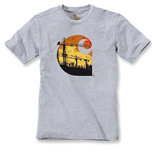 Carhartt Maddock Branded Short Sleeve T-Shirt, CH102563-heather grey, 2XL (Jeans-short Sleeve Work Shirt)