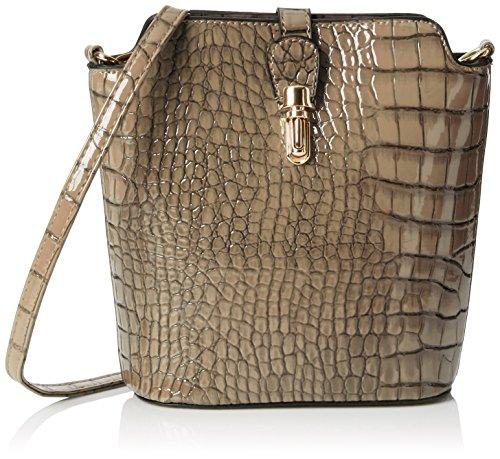 Patent Croc (Swankyswans Damen Charlotte Croc Patent Leather Shoulder Bag Grey Umhängetaschen, Grau, One Size)