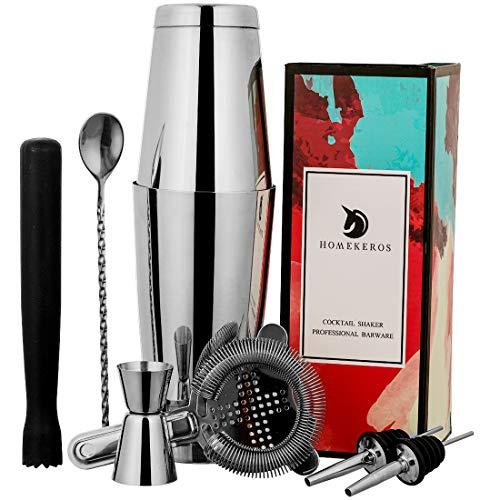 HOMEKEROS Boston Shaker Set: Professionelles Zweiteiliges Cocktail Shaker Set mit Hawthorne Sieb, Double Jigger, Drink Muddler, Bar Spoon und 2 Liquor Pourers