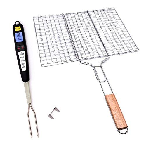 Lantelme 6028 Grillrost und Gabelthermometer im Set - Grill Rost 30 x 40 cm und Digitales Gabel Thermometer