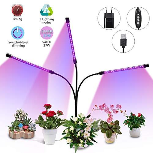 Elfeland LED Pflanzenlampe 27W Pflanzenlicht Pflanzenleuchte mit Timing-Funktion, 3 Modus, 4 Heillgkeitsstufen Wachsen licht Wachstumslampe Pflanzenlichter für Zimmerpflanzen Gartenarbeit Gewächshaus