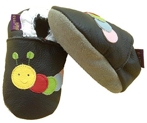 coolMYP©chromfreie Krabbelschuhe, Baby Schuhe, Lederschuhe ohne Chrom, Lernlaufschuhe (S, schwarz-Raupe)