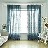 Demino Traslucido Garza Foglia di Salice cieco Ricamato Voile Curtain Tulle Finestra Drapery Sheer Tende Camera da Letto Bagno Blu 2x2.7m