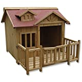 Luxus XL Hundehütte Hundehaus Massiv Holz mit Balkon Terasse - 2