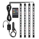 Auto-Voice LED Atmosfera Luce Aggiornamento Telecomando E L'applicazione Due-In-Colore Luci Auto Musica, 4 Pezzi LED, Funzione Voice, Impermeabile, Cambio Multimodale (12V DC)