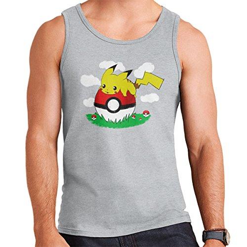 Pokemon Pikachu On Holiday Men's Vest Heather Grey