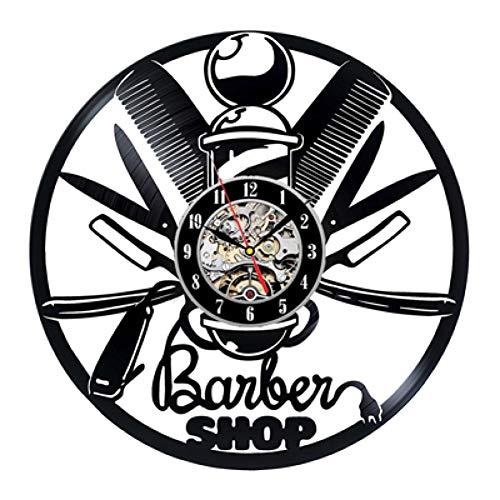 ttymei Barber Shop Tools Vinyl Schallplatte Wanduhr - Geschenkidee für Friseure, Stylisten, Friseure Friseure