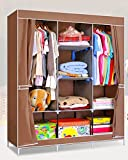 #10: Fancy and Portable Foldable Closet Wardrobe Cabinet Portable Multipurpose Clothes Closet Portable Wardrobe Storage Organizer with Shelves 3.5 Feet Folding Wardrobe Cupboard Almirah Foldable Storage Rack Collapsible Cabinet (Need to Be Assembled)
