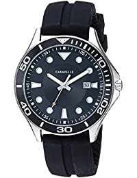 Caravelle Men's Quartz Stainless Steel and Silicone Dress Watch, Color Black (Model: 43B154)