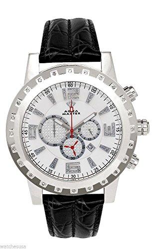 Aqua Master hombres del caso plateado diamante bisel negro correa de cuero para cronógrafo reloj W138
