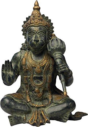 Exotic India bénédiction Hanuman avec Collier de Rama, Noir, Vert Doré, Taille : 22,9 x 28,7 x 43,2 cm