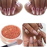 SO-buts, polvere glitter da nail art per realizzare unghie a specchio colore oro rosa, Rose Gold