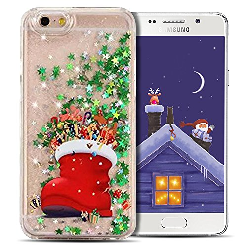 Cover iPhone 7 Case iPhone 8 Custodia Spiritsun Hard PC Christmas Case Cover Bling Bling Case Elegante Flowing Natale Regalo Phone Cover Case Per iPhone 7/8 (4.7 Pollici) - Padre Natale 1 Scarpe di Natale