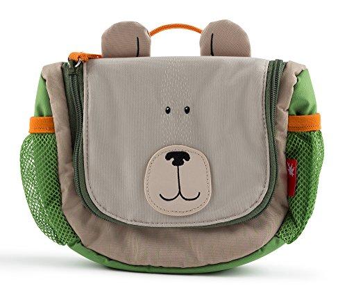sigikid, Mädchen und Jungen, Hänge-Kulturtasche, Bär, Motiv Forest Grizzly, Mehrfarbig (Beige/Grün), 24745