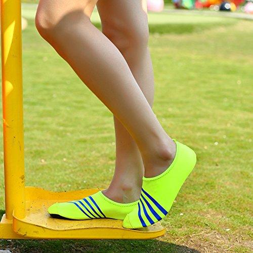 Romacci Unisex Aquaschuhe Striped Strandschuhe Weiche schnelltrockene rutschfeste Schwimmschuhe für Damen&Herren, Erwachsene&Kinder Grün