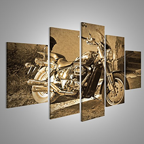 Bild Bilder auf Leinwand XXL Bild Poster Leinwandbild Wandbilder Kunstdruck 5-teilig BIQ Chopper Motorrad Sepia Vintage