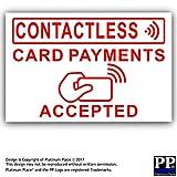1x carte sans contact, Paiements Accepted-130mm Rouge/blanc externe Taxi, Mini, Cab, DE L'Argent, banque, machine, point, achats, Magasins, autocollant, avis, DE signer, Signaler, Avertir