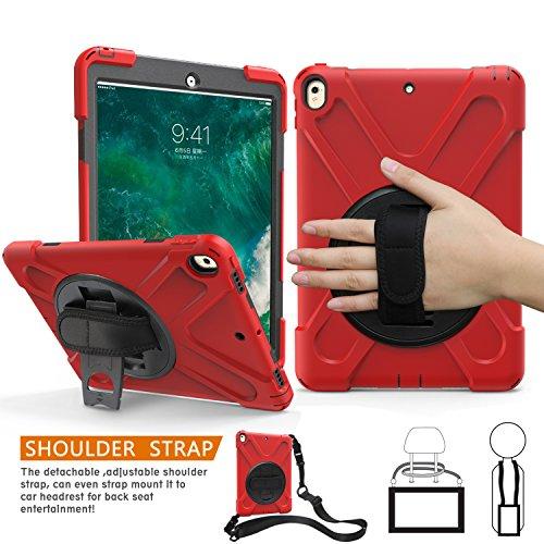 iPad Pro 10.5 Hülle, Braecn Heavy Duty Fullbody Robuste PC-Silikon-Schutzhülle mit tragbaren Schultergurt Eingebauter 360-Grad-Drehständer / Handschlaufe für iPad Pro 10.5 A1709 / A1701 (ROT)