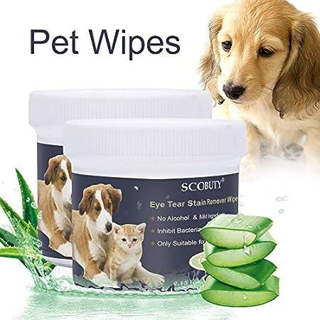 SCOBUTY Augen-Reinigungspads, Haustier-Augen-Tücher, Milde Augen-Reinigung ohne zu Reizen, Entfernt sanft Tränenstein…