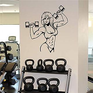 Weibliche Muskel Wandaufkleber Fitness Gym Sportraum Vinyl Applique Innenwand Art Deco abnehmbare Gym Design Kreative Wandbild