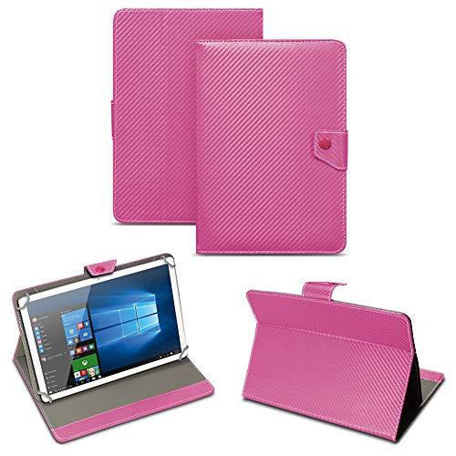 NAUC Universal Tablet Tasche mit Standfunktion Hülle für Blaupunkt Endeavour 101M 101G 101L Tablet Schutztasche in Edler Carbon-Optik Schutzhülle Cover Case, Farben:Pink