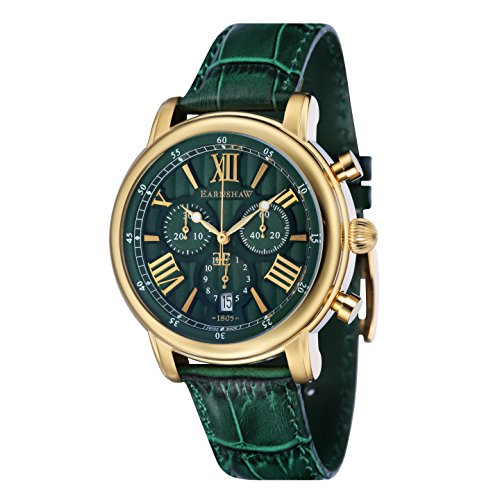Thomas Earnshaw - Longcase 43 - ES-0016-09 - Montre - Affichage Analogique - Bracelet Cuir Vert - Cadran Vert - Homme