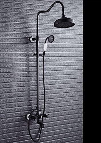 YSRBath Moderne Badzimmer Waschbecken Waschtischarmatur Heben Messing schwarz Showerset Schwarz Bronze Retro Antik Dusche Duschkopf Mischbatterie Bad Küchenspüle Armaturen Wasserhahn