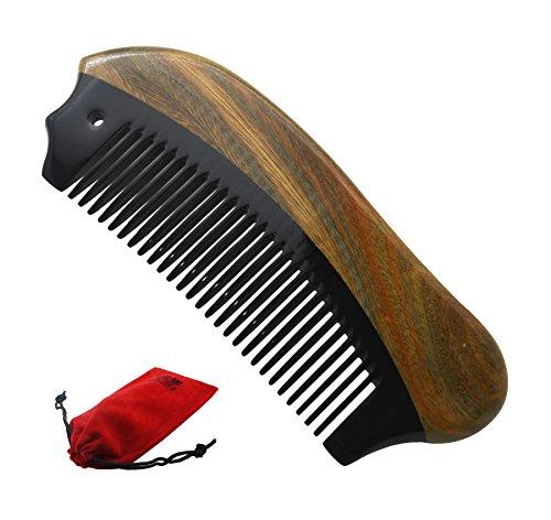 Meta-C tragbare Bartkombination - perfektes Arsenal für die Bartpflege von Männern - keine Zacken, kein Gewirr, kein statisches - handwerkliches Holz und Horn