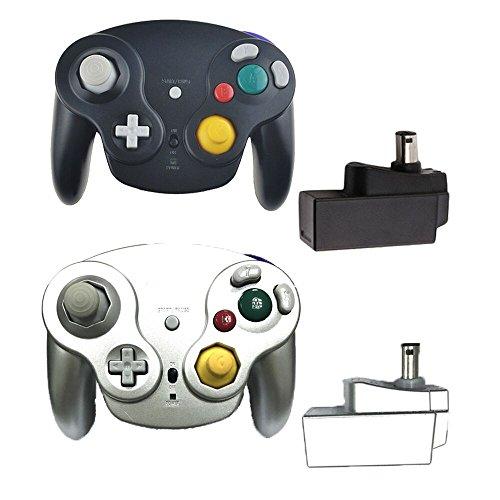 Poulep Classique contrôleurs sans Fil 2,4G Manette de Jeu avec récepteur Adaptateur pour Wii U Gamecube NGC GC (Noir et Argent)