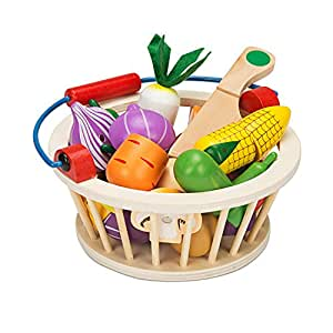 Battop wooden cutting vegetables set cutting food toys for Best kitchen set for 5 year old
