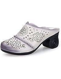Onfly Pompe Mules Chaussons Chunky Heels Des sandales Dames Cuir véritable Confortable Respirant Creux Fleurs Talons moyens Cool Pantoufles Eu Taille 35-40