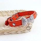 Komener New Collar de Cuero Duradero con Colgante Rhinestone Bowknot Collar de Diseño Animal (Naranja S)