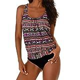 TWIFER Damen Tankini Bikini Bademode Badeanzug Slip Set Große Größen (XL, Pink)