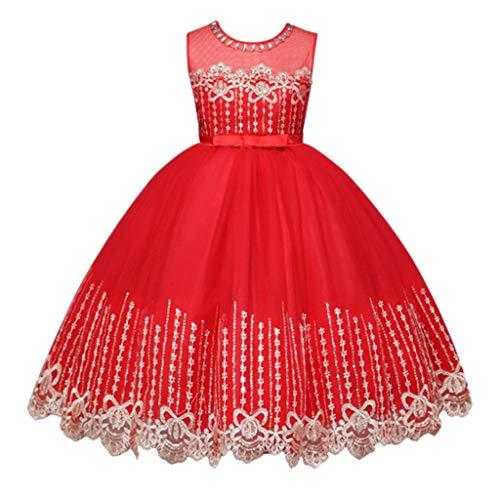 IZHH Kinder Kleider, Kinder ärmellose Mädchen Bögen Sterne Spitze Prinzessin Bling Tutu Formale Prinzessin Kleid Kleidung 3Y-7Y Pailletten Spitze Seidengarn Swing Kleid Rock Kleid(Rot,140)