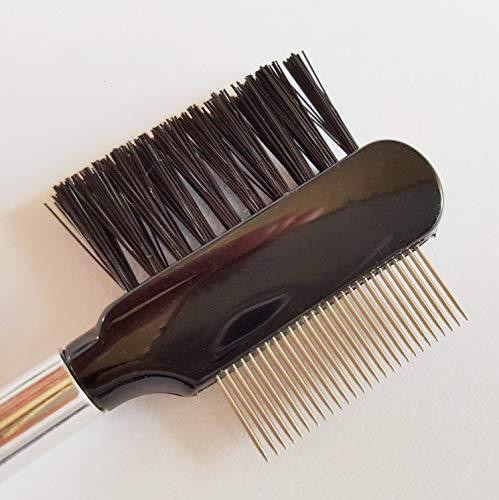 Pettine per ciglia Deluxe con estremità in acciaio inox, spazzola per ciglia a testa doppia e pettine a denti metallici