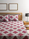 #9: Bombay Dyeing Elements 120 TC Polycotton Double Bedsheet with 2 Pillow Covers - Maroon