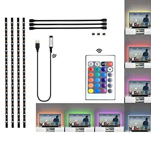 Insense LED TV Backlight USB,4x50cm Waterproof TV Lighting Strip Multi-Color RGB 5050 Back Light Bias Lighting with Remote Contro for HDTV, PC Monitor, Flat Screen TV Waterproof (4 * 50cm)
