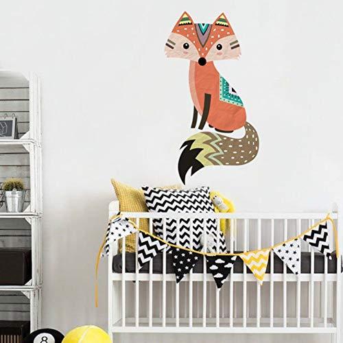 Niedlichen Tribal Fox Wandaufkleber Vinyl Cartoon Woodland Tier Decals Für Kinderzimmer Kindergarten Tapete Kunstwand Dekoration