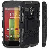 Motorola Moto G ( 1st Gen ) - Premium Quality Shockproof Defender Plastic Hard Back Case + Free Screen Protector