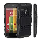 Motorola Moto G ( 1st Gen ) - Premium Quality Shockproof Defender Plastic Hard Back Case + Free Screen Protector