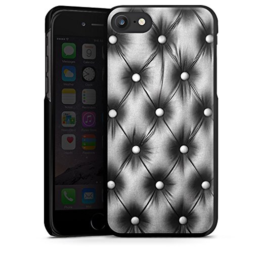 Apple iPhone X Silikon Hülle Case Schutzhülle Sofa Leder Muster Hard Case schwarz