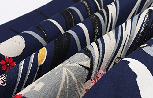 Babyonline d.r.e.s.s Damen 50er 1/2 Arm Retro Swing Partykleid mit Schwan- Bulmenmuster Knielang Navy Blau 4XL -