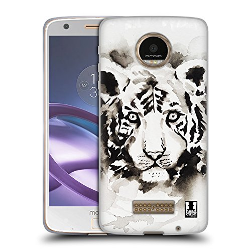 Head Case Designs Tiger Schwarzweisse Tiere Soft Gel Hülle für Moto Z Force / Z Force Droid (Ultra Force-tiger)