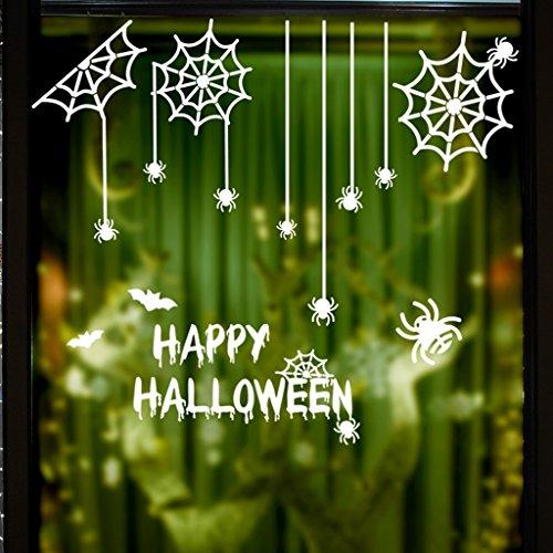 CJH Halloween Spider Web Wandaufkleber Festliche Glasdekoration (Spider Licht Halloween Web-schwarz)
