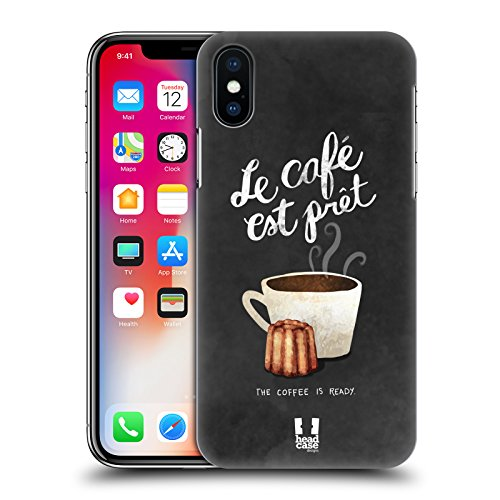 Head Case Designs Torta E Caffè Pattern Caffè Francese Cover Retro Rigida per Apple iPhone X Il Caffè È Pronto