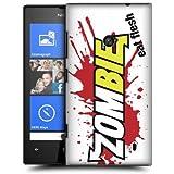 Etui de créateur pour Nokia Lumia 520 - Etui / Coque / Housse de protection blanc en Plastique Rigide (arrière rigide) avec motif Zombie Eat Flesh (blanc et rouge)