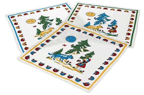 12 Stück Kinder Stoff Taschentücher Kindertaschentücher Set Größe 26x26 cm 100% Baumwolle Märchen Motiv (Rotkäppchen) Design 2
