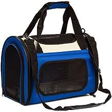 BabycarePro Plegable Transportín Gato para coche Portador Perro Elegante para avión Bolso de viaje para mascotas con estera y lados suaves, Azul