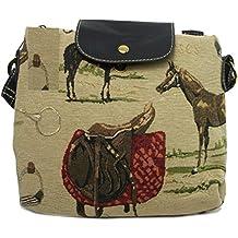 d6c9ac8903308 GFM-Piccola borsa a tracolla o Tote o Cuscino con cavallo e cavallerizza